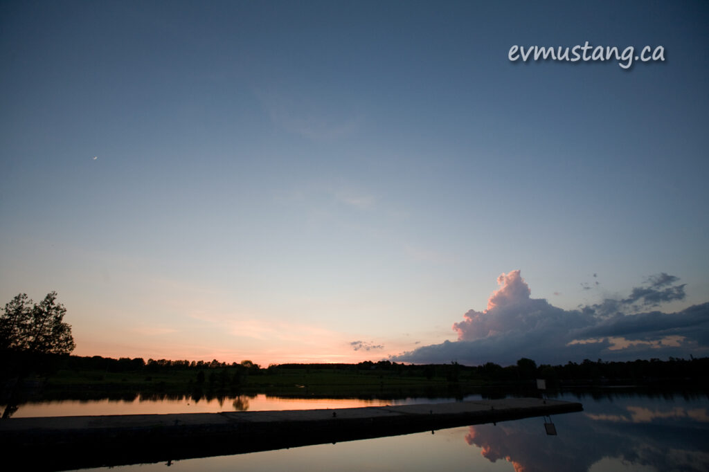 image of sunset over the dock at Lock 25 on the Trent Severn north of Peterborough