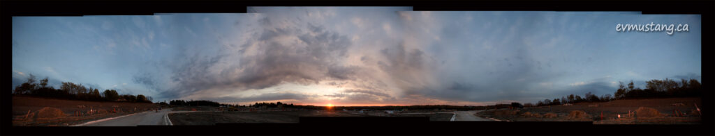360° panorama of land cleared for a subdivision during sunset