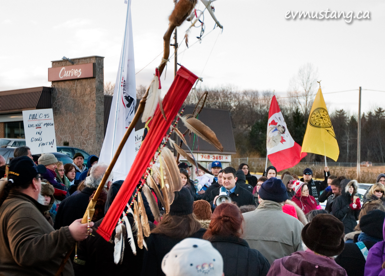 image of dean del mastro at idle no more protest, peterborough