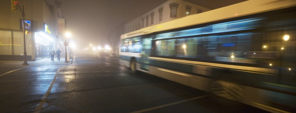 image of bus at George and Simcoe streets in the fog