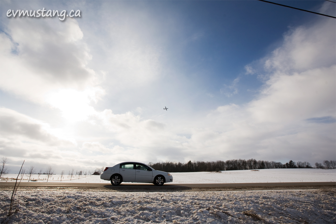 image of bomber over Peterborough highway