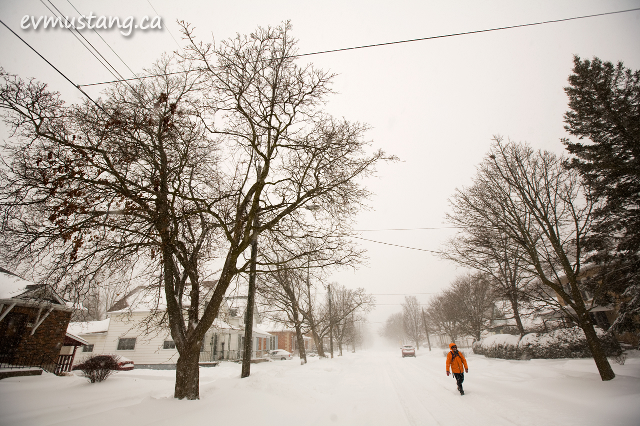 image of pedestrian on snowy street