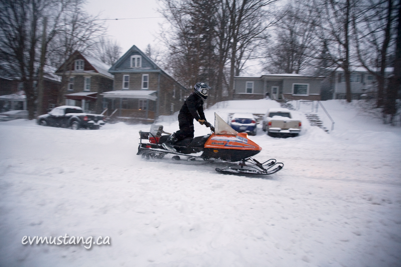image of snowmobile on bethune street