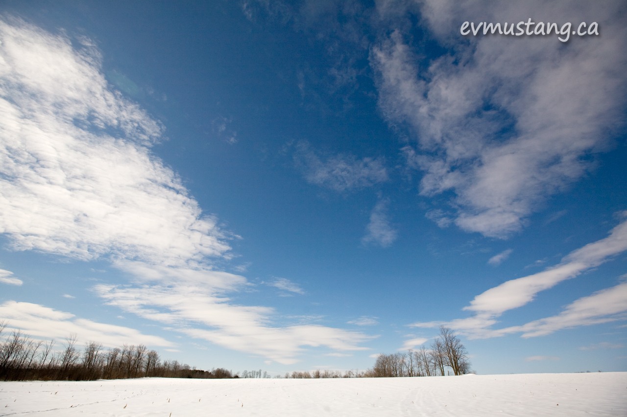 image of snowy field under white clouds