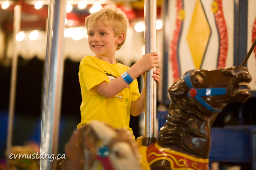image of boy on marry-go-round