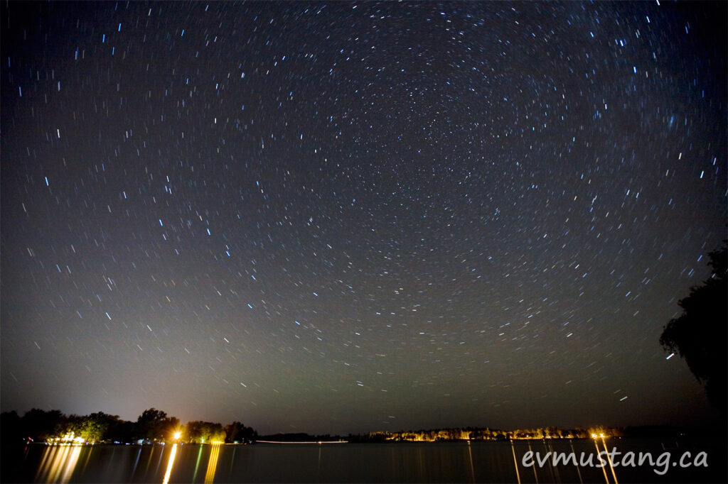 image of star trails over gannon bay