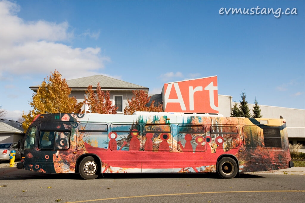 image of the artspace art is everywhere bus outside the art gallery of peterborough