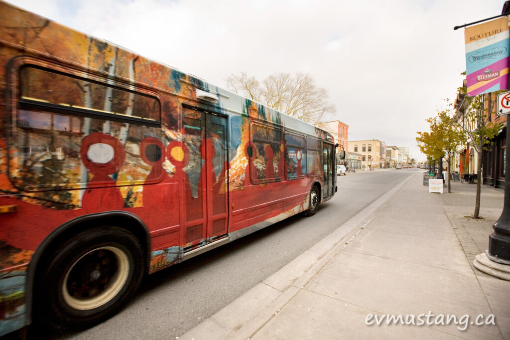image of the artspace art is everywhere bus on hunter street, peterborough