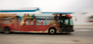 image of long exposure photograph of peterborough artbus by jimson bowler