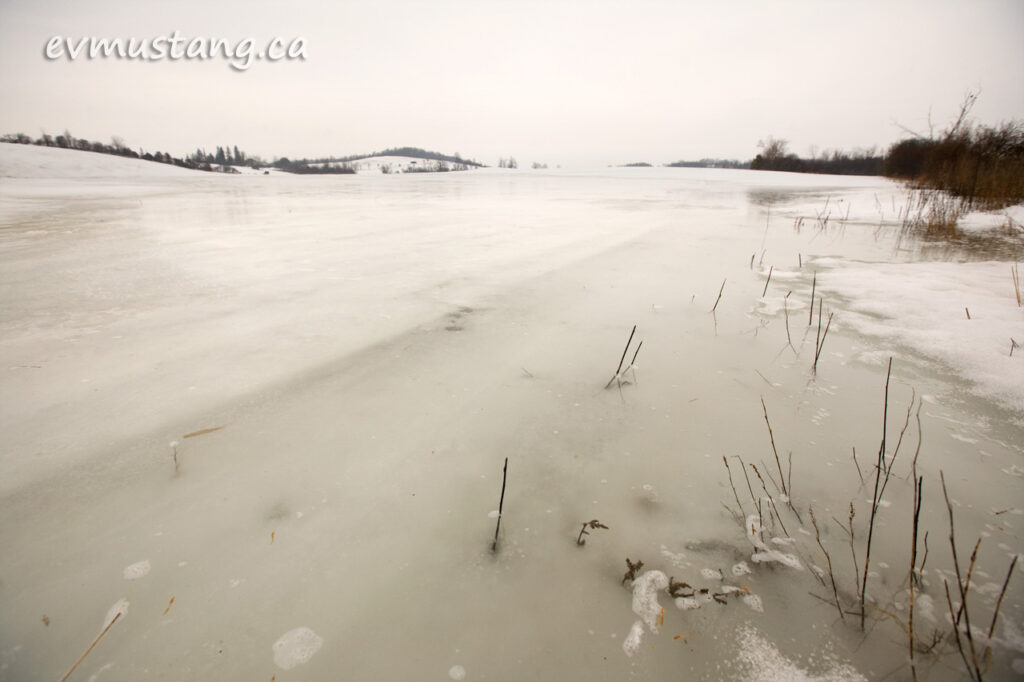 image of waterlogged snowy field