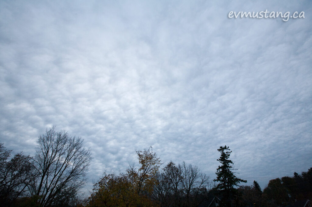 image of altocumulus clouds at dusk