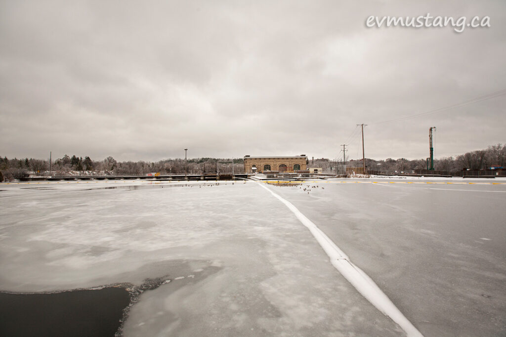 image of the london street dam in peterborough after an ice storm