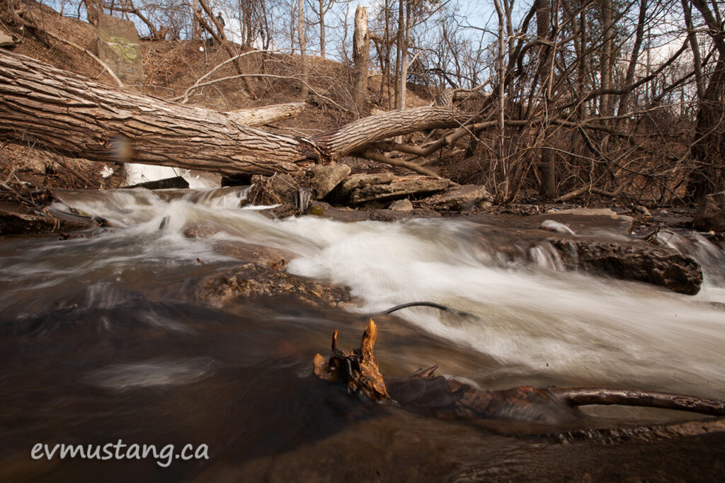 image of run-off water fall with slow exposure (1/4 of a second)