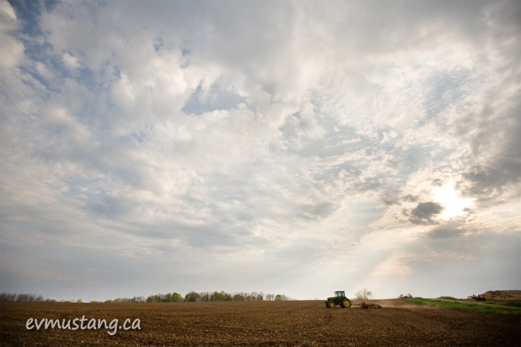 image of plough in spring field