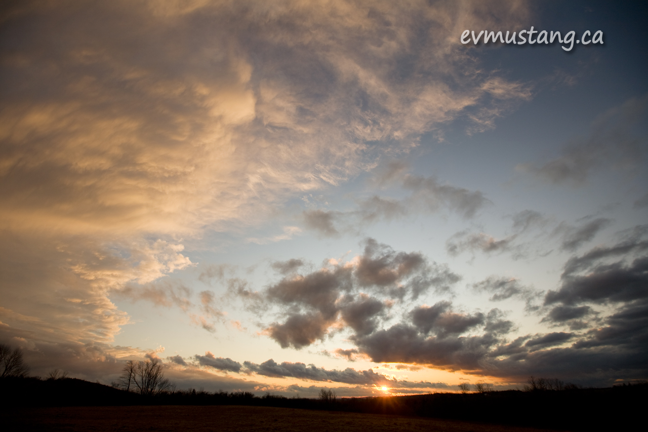 image of winter sunset over fallow field