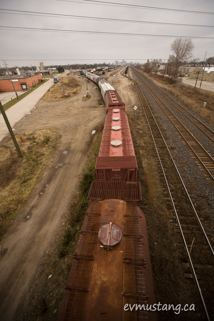 image of a freight train shunting, shot from above