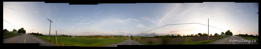 360° panoramic image of Keene Road in Peterborough county at sunset in late spring