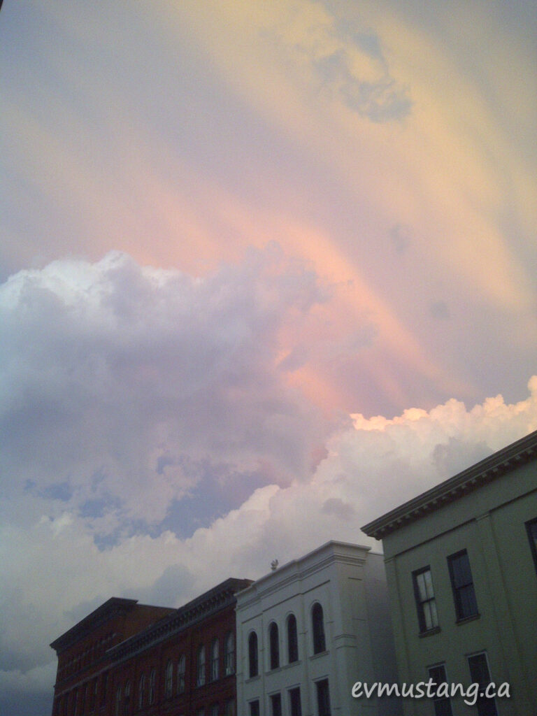 image of brilliant storm clouds over Hunter Street