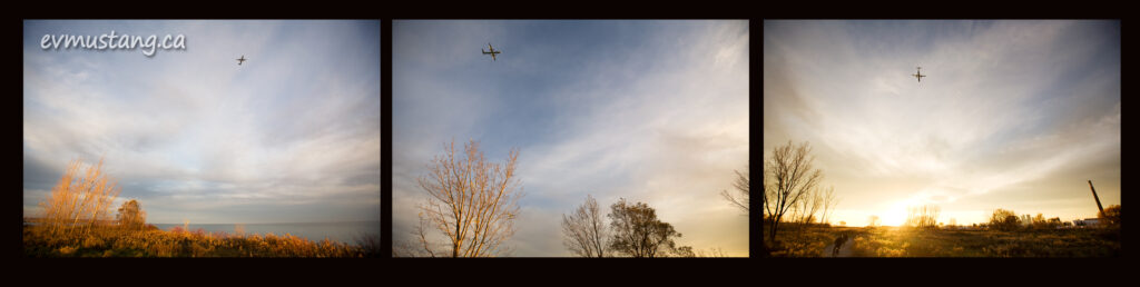 three images of a plane landing over leslie spit