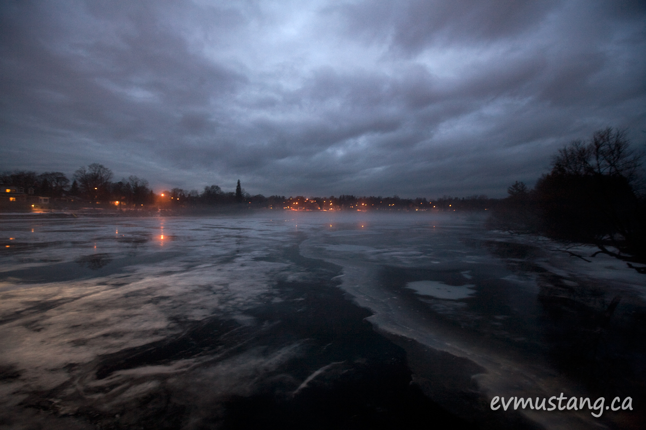 image of fog over otonabee river at night