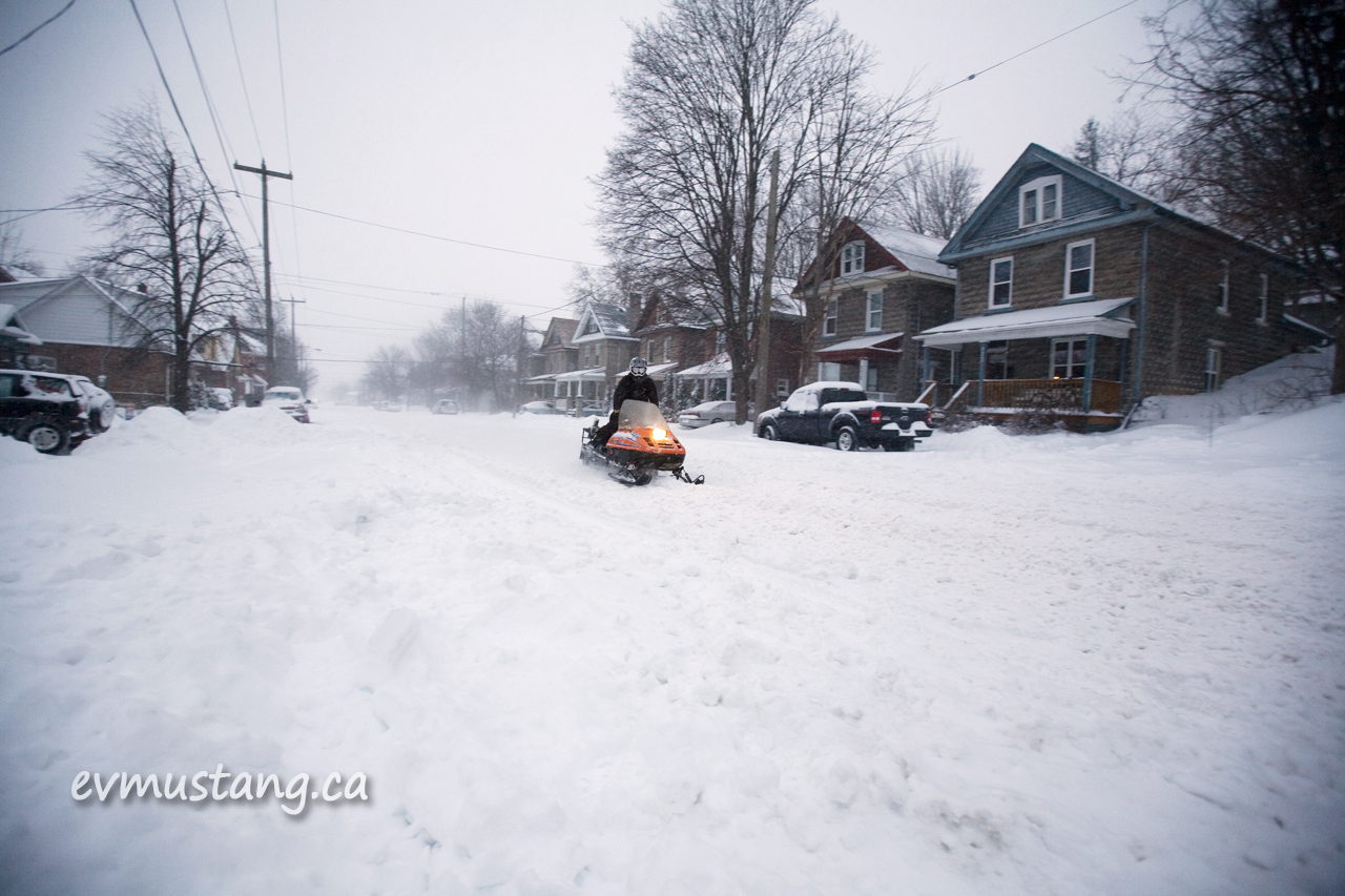 image of snowmobile on urban bethune street