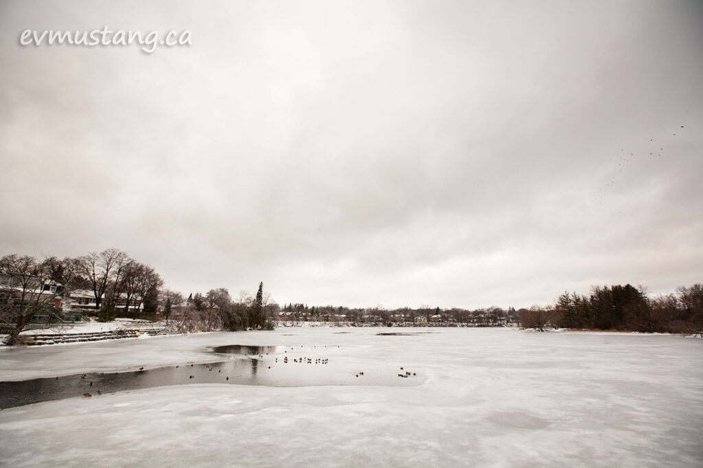 image of the otonabee river after an ice storm