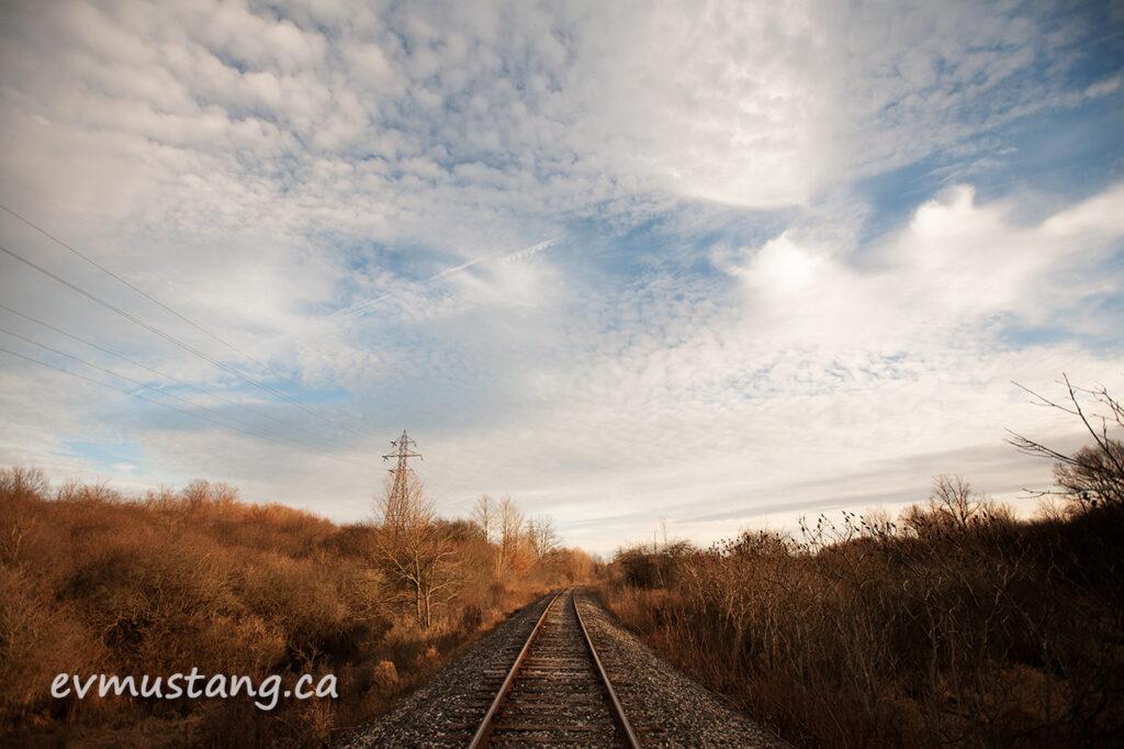 image of the train tracks through pond mills, london, ontario, december 2015