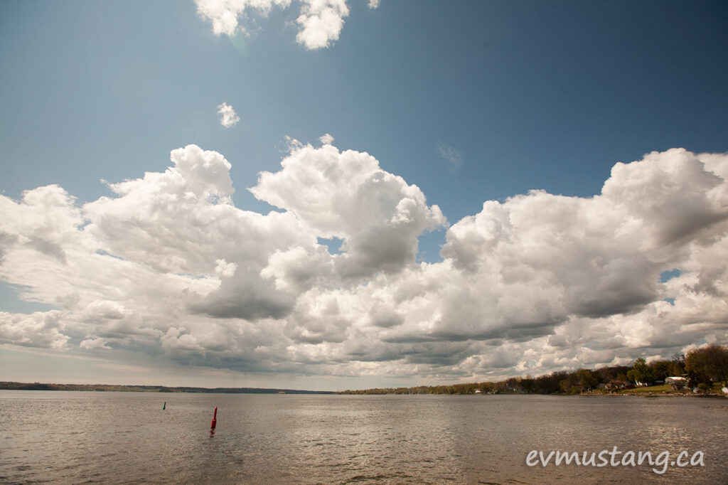 image of clouds over rice lake, ontario